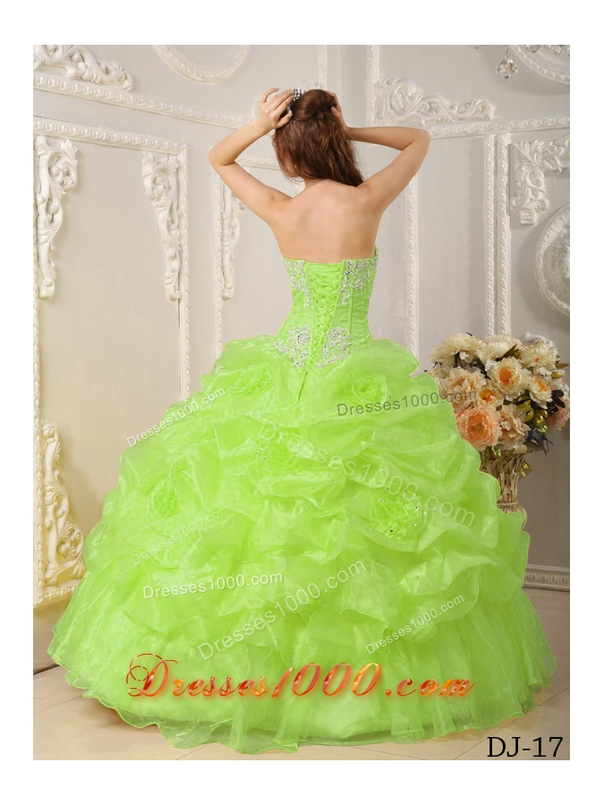 Lime Green Organza Sweet 15 Dresses with Appliques and Pick-ups