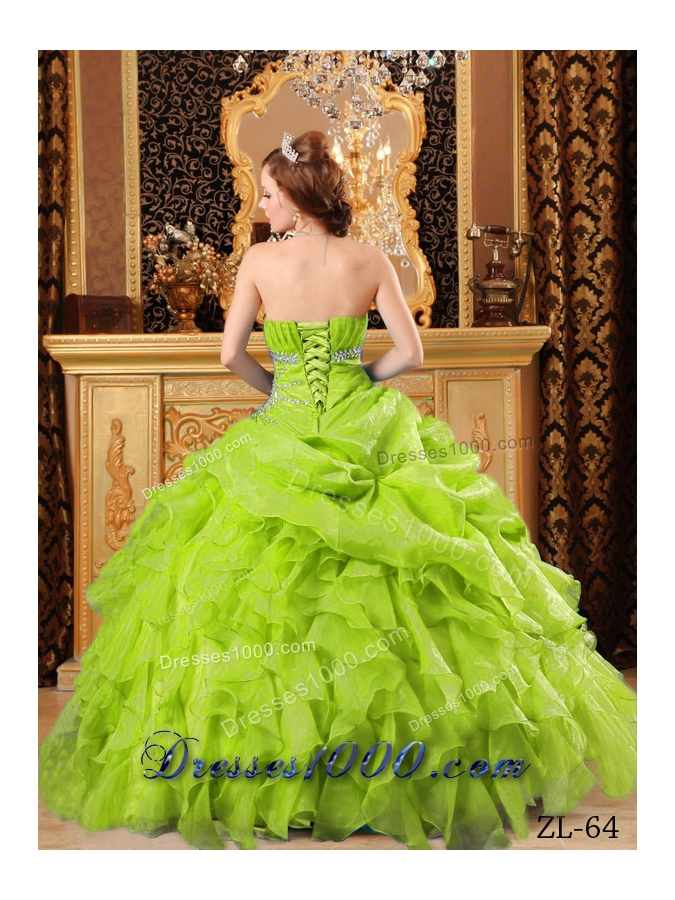 Lime Green Princess Organza Sweet 15 Dresses with Beading and Ruffles