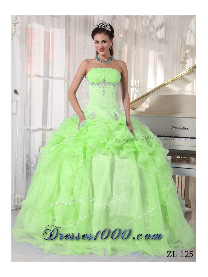 Lime Green Strapless Organza Sweet 15 Dresses with Beading and Pick-ups