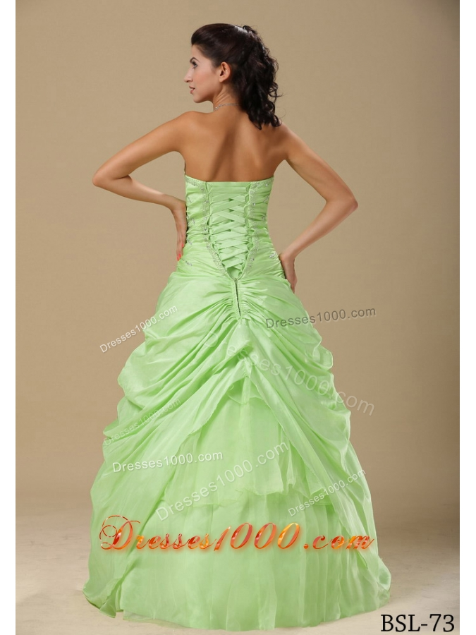 Lime Green Sweetheart Hand Made Flowers and Beading Sweet 15 Dresses
