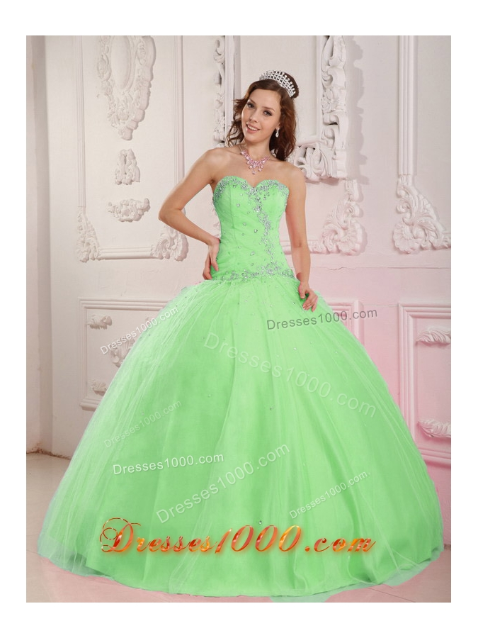 Lovely Sweetheart Tulle Appliques and Beading for Sweet 16 Dresses