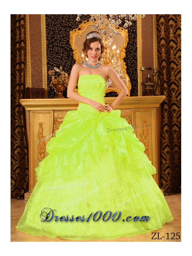 Princess Strapless Organza Appliques and Pick-ups for Lime Green Quinceanera Dress