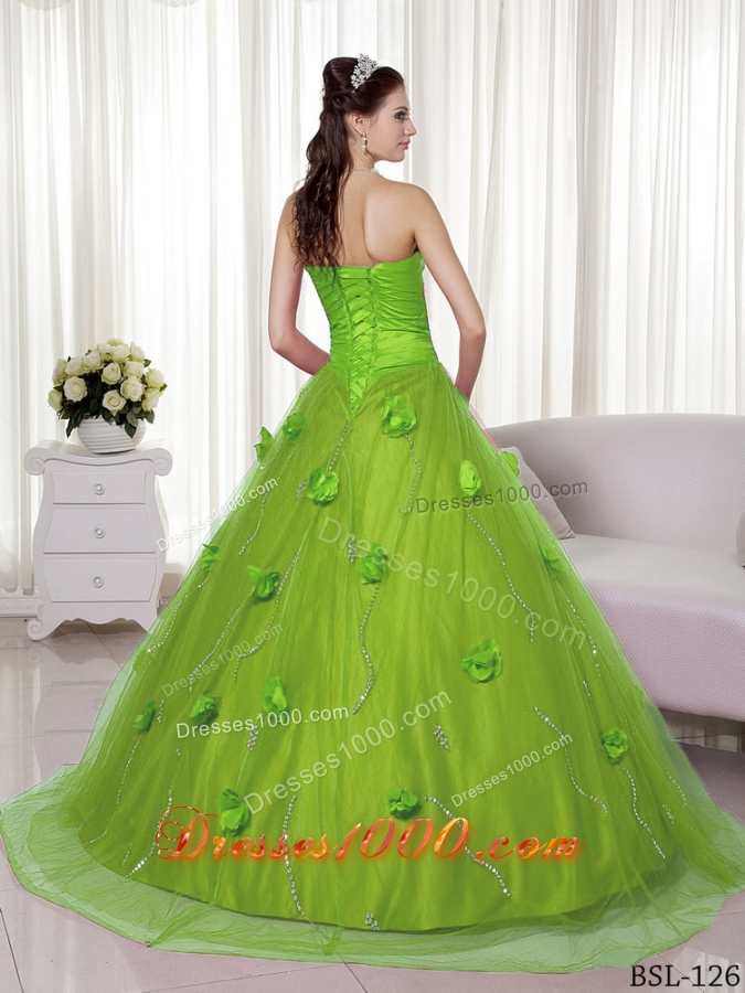 Princess Sweetheart Lime Green Quinceaneras Dress with Hand Made Flowers