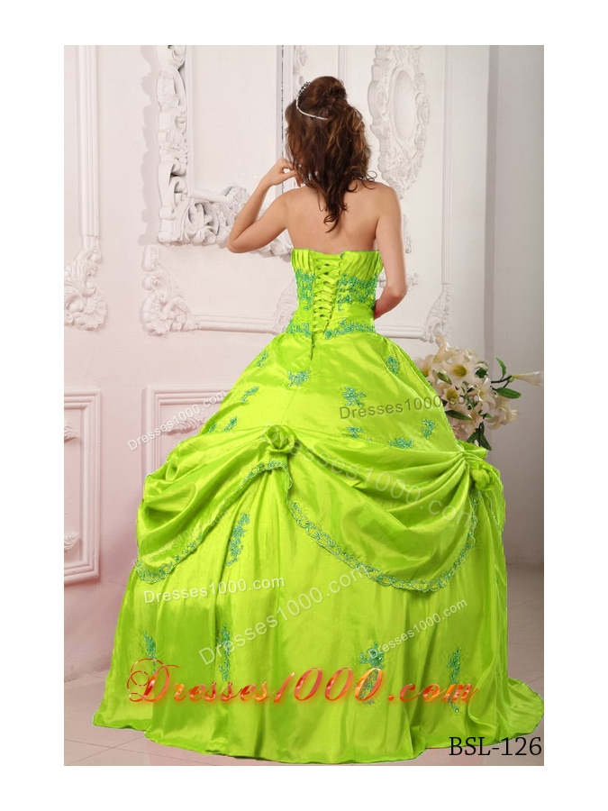 Strapless Taffeta Lime Green Quinceanera Dress with Appliques and Flowers