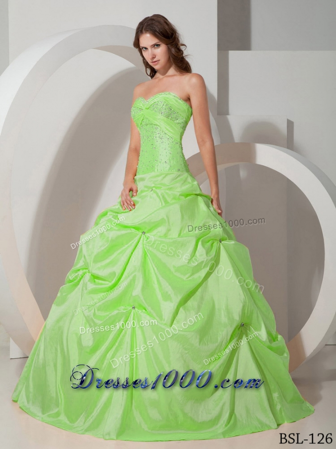 Sweetheart Taffeta Lime Green Quinceanera Dress with Beading