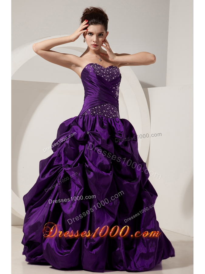 2014 Classical Princess Sweetheart Beading Quinceanera Gowns with Pick-ups