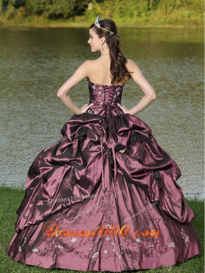 Custom Size Strapless Appliques and Pick-ups Dark Purple Quinceanera Dresses