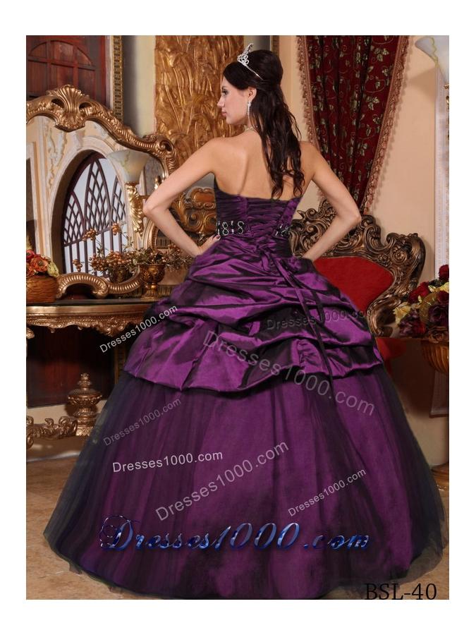 2014 Popular Dark Purple Puffy Strapless Beading Quinceanera Dresses with Pick-ups