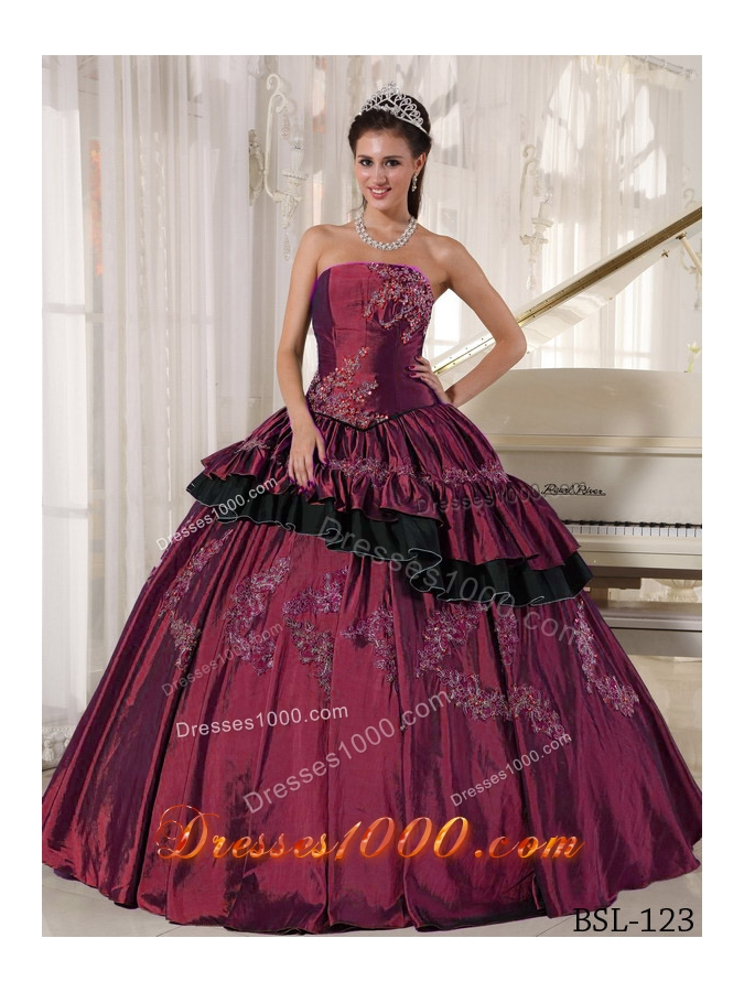 2014 Pretty Puffy Strapless Beading Quinceanera Dresses with Appliques