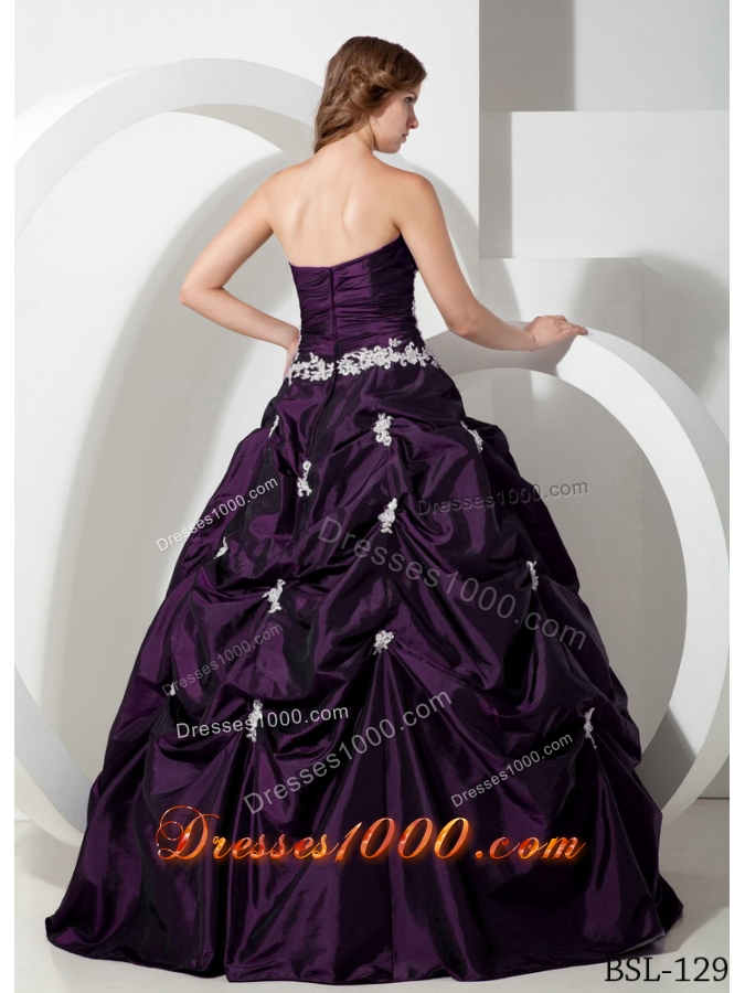 2014 Pretty Puffy Sweetheart Appliques Quinceanera Dresses with Pick-ups