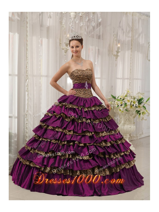 2014 Pretty Purple Ball Gown Sweetheart Quinceanera Dresses with Ruffled Layers