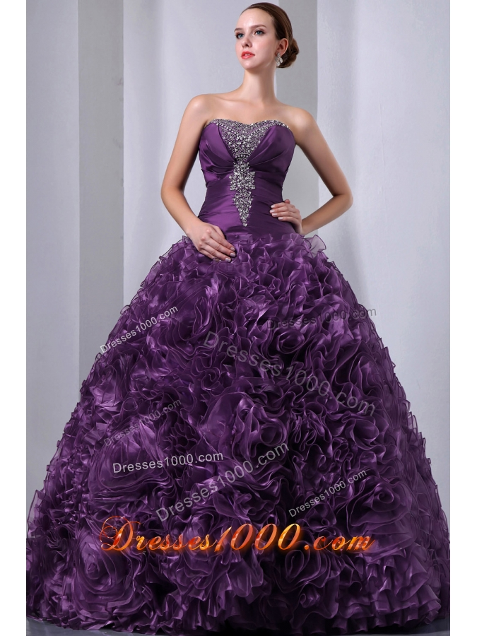 Eggplant Purple Princess Strapless Beading Quinceanea Dresses for 2014 Spring