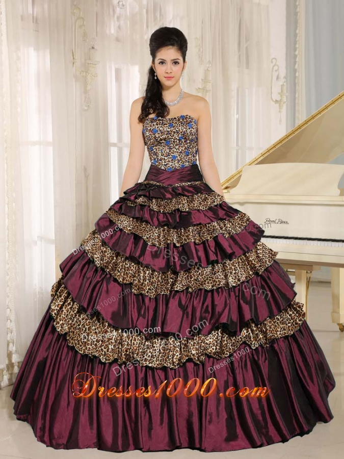 Leopard Layers and Beading 2014 Dark Purple Quinceanera Dress For Custom Made