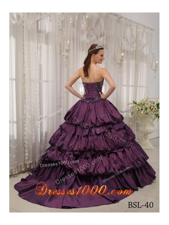 Pretty Puffy Sweetheart Court Train Appliques and Quinceanera Dresses for 2014