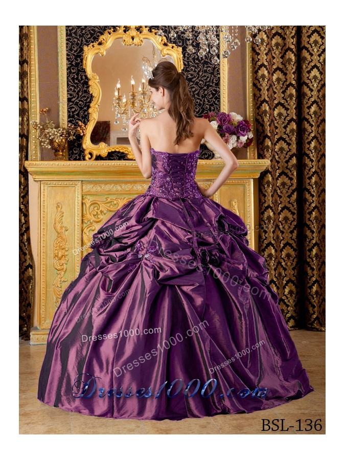 Puffy Strapless Appliques and Pick-ups 2014 Spring Quinceanera Dresses