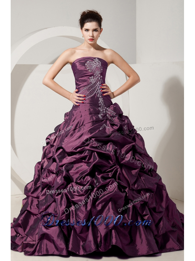 Purple Princess Strapless Brush Train Quinceanera Dresses with Beading and Pick-ups