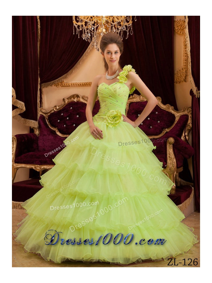 Princess One Shoulder Lime Green Quinceanera Dresses with Flowers and Layers
