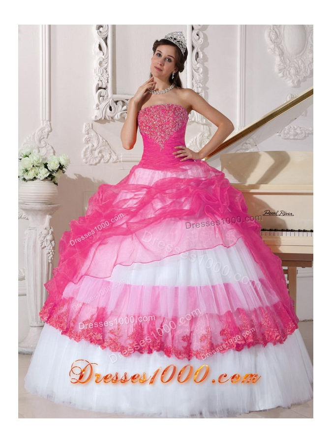 Hot Pink and White Ball Gown Strapless Long Appliques ...