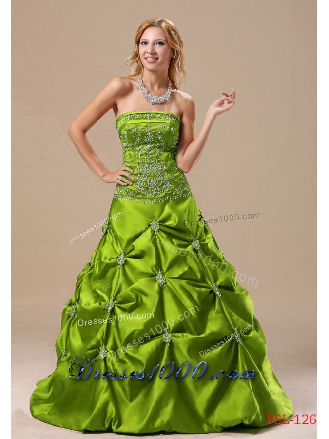 Elegant A-line 2013 Quinceanera Gowns with Appliques and Pick-ups