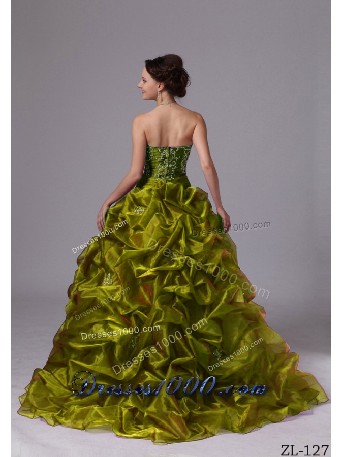 Embroidery and Pick-ups Sweep Train Quinceaneras Dress For Custom Made