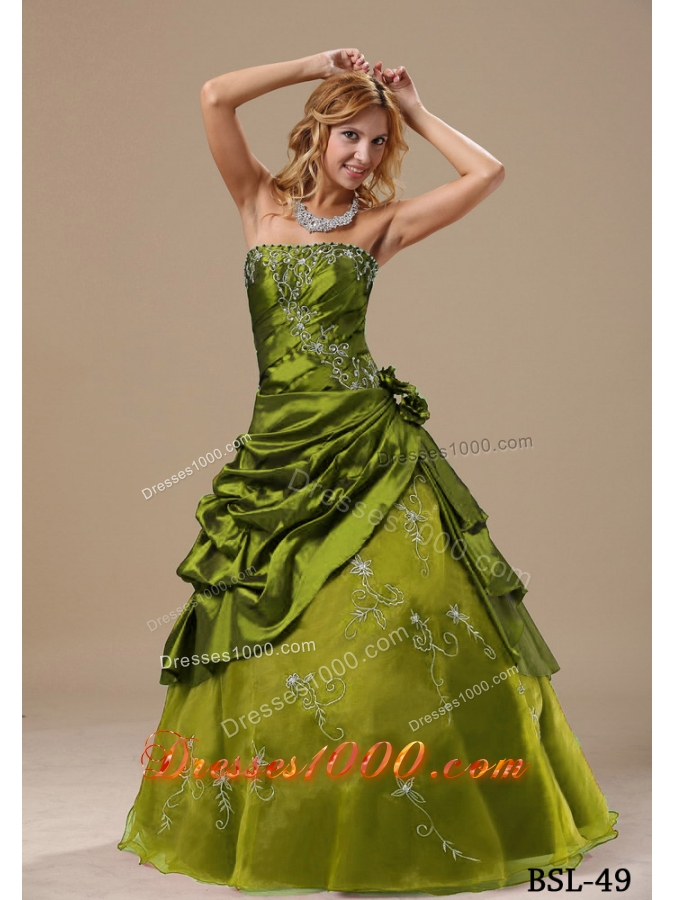 Olive Green Quinceanera Gown Dresses with Hand Made Flowers and Embroidery