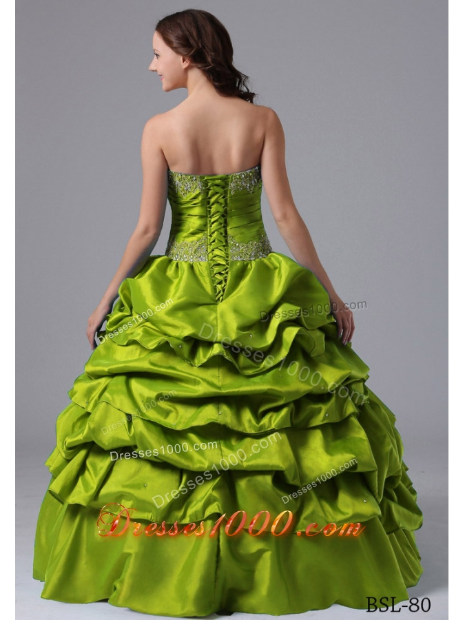 2014 Olive Green Quinceanera Dresses with Beading and Pick-ups
