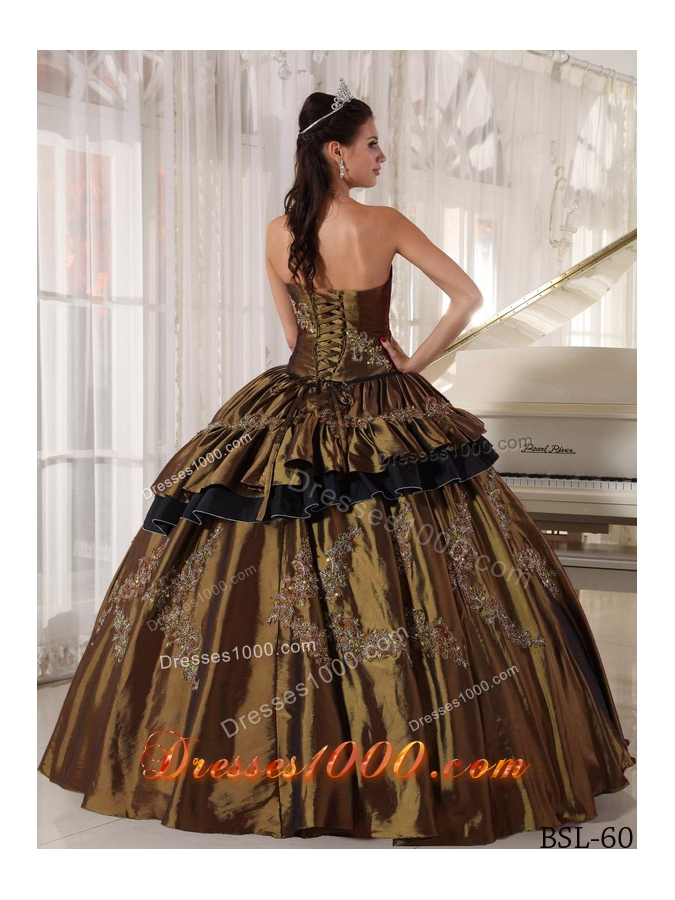 Brown Strapless Taffeta Beading Sweet 16 Dresses with Appliques