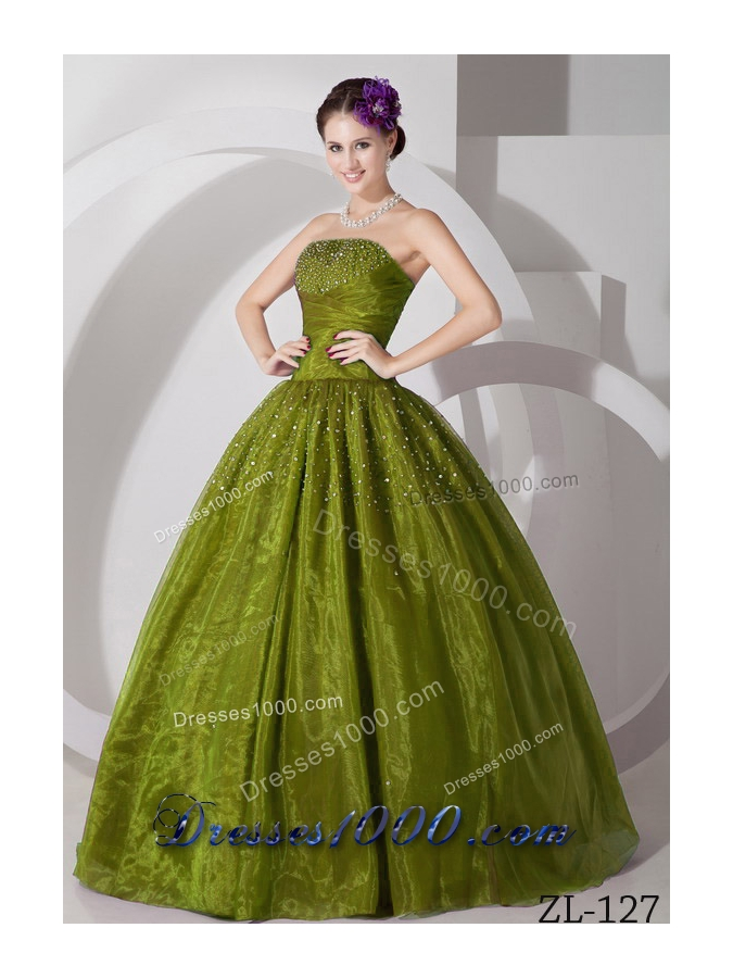 Sweetheart Princess Tulle Beading Quinces Dresses in Olive Green