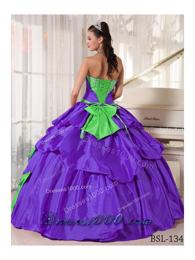 Exclusive Puffy Sweetheart for 2014 Appliques Quinceanera Dress with Pick-ups