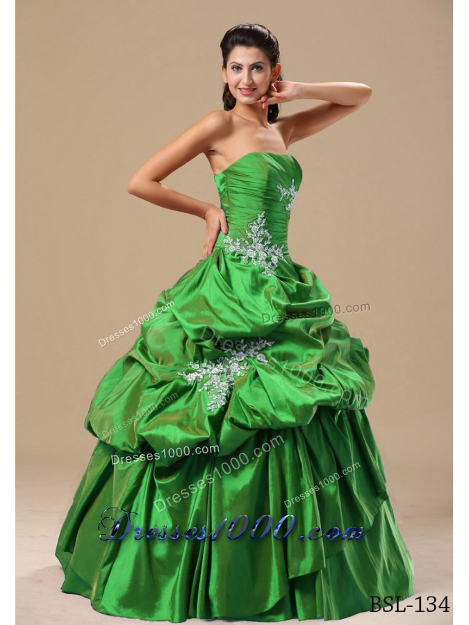 Modest Strapless Appliques and Pick-ups 2014 Quinceanera Dresses