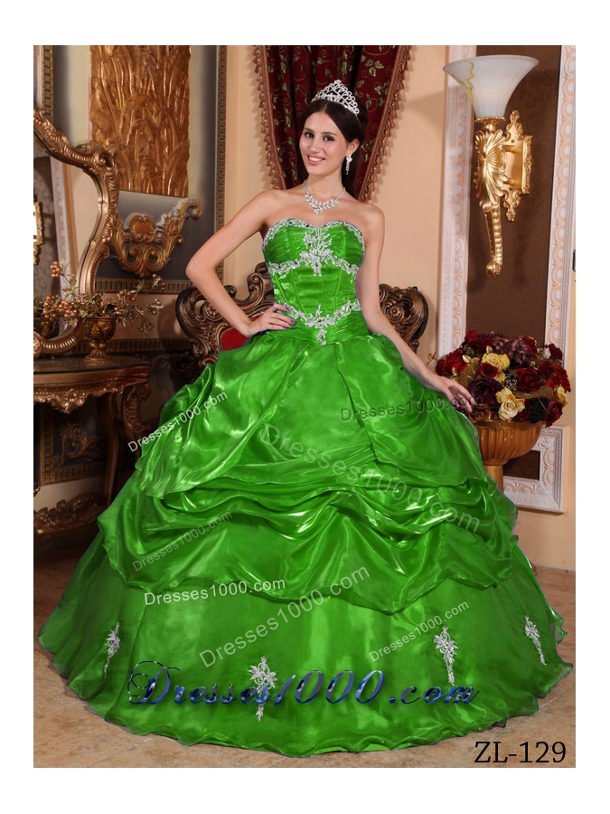 Romantic Green Puffy Strapless with Appliques Quinceanera Dress for 2014