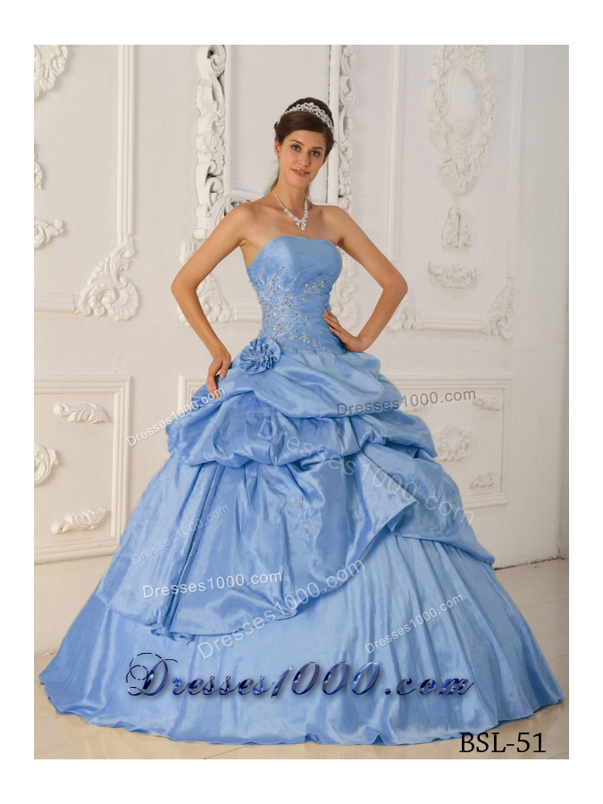 2014 Princess Appliques Strapless Beading Quinceanera Dresses with Hand Made Flower
