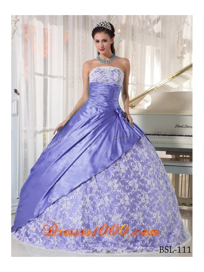 2014 Beautiful Puffy Strapless Lace Quinceanera Dresses with Hand Made Flower