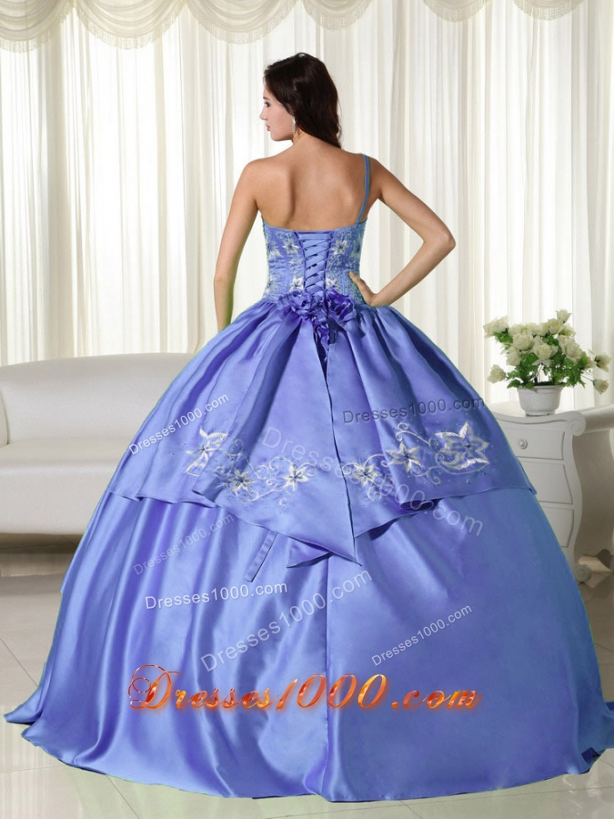 2014 Lovely Puffy Off the Shoulder Embroidery Quinceanera Dresses