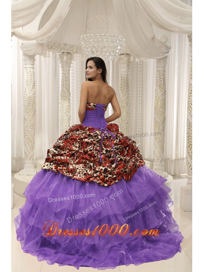 2014 Spring Leopard Quinceanera Dresses With Beaded Decorate