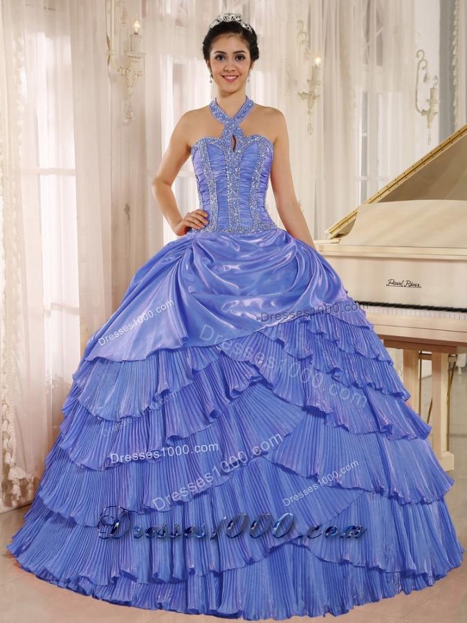 2014 Halter Pleat Quinceanera Dresses With Beaded Bodice