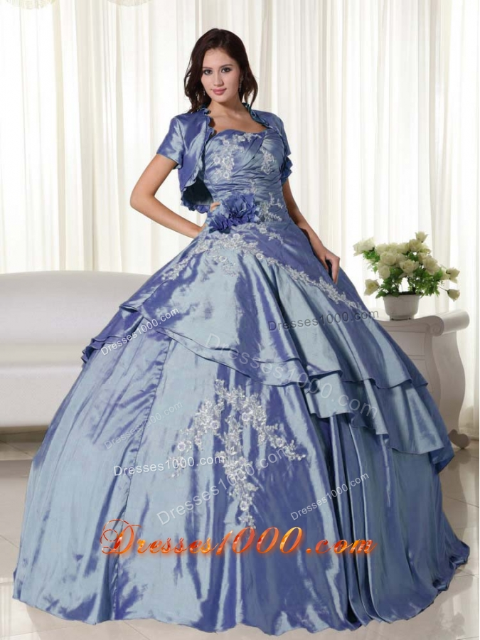 Beautiful Puffy Strapless Appliques 2014 Spring Quinceanera Dresses