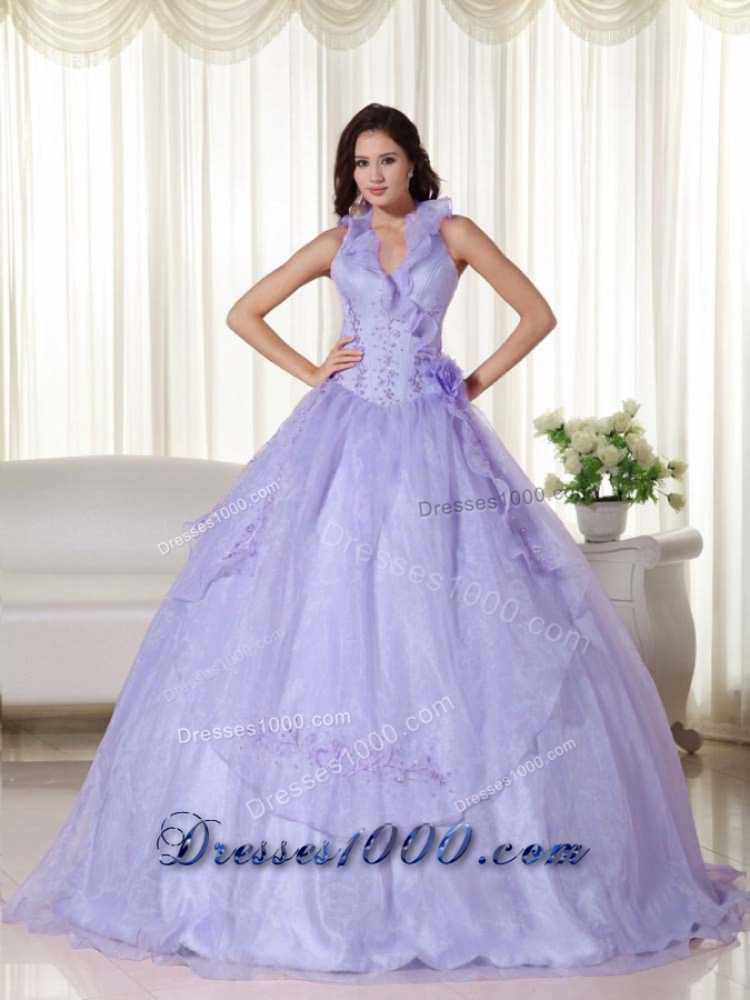 Elegant Puffy Halter Embroidery and Beading Quinceanera Dresses for 2014