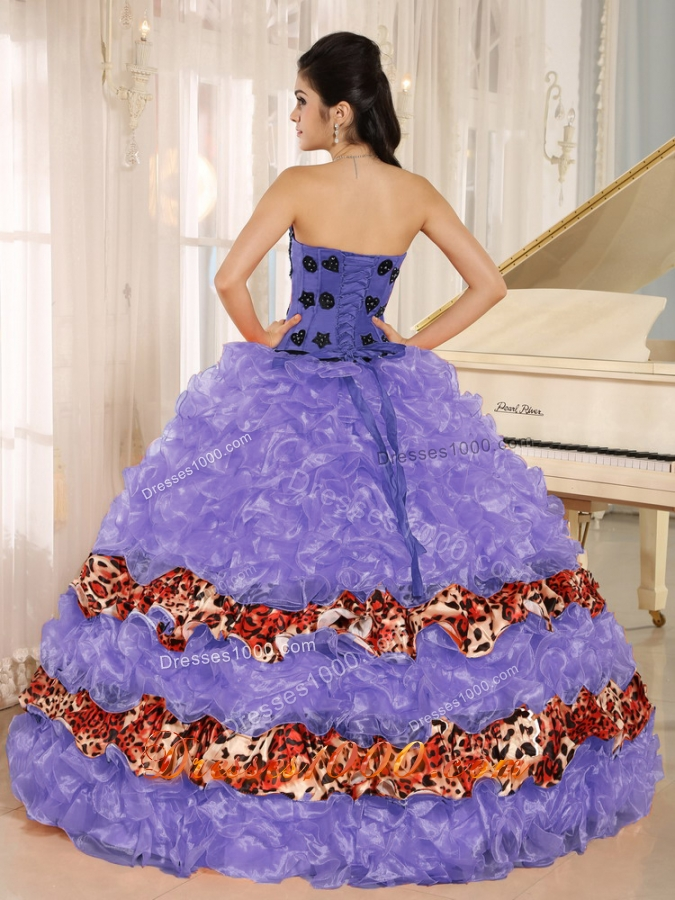 Pretty Ruffles Appliques Sweetheart Quinceanera Dresses with Leopard For 2014