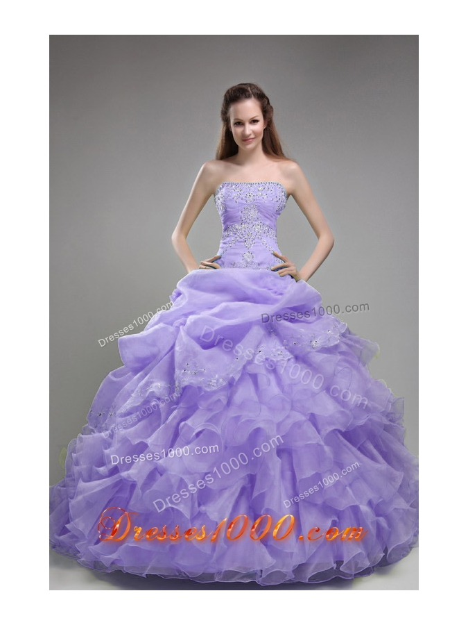 Gorgeous Lavender Puffy Strapless Beading and Ruffles Quinceanera Dresses for 201