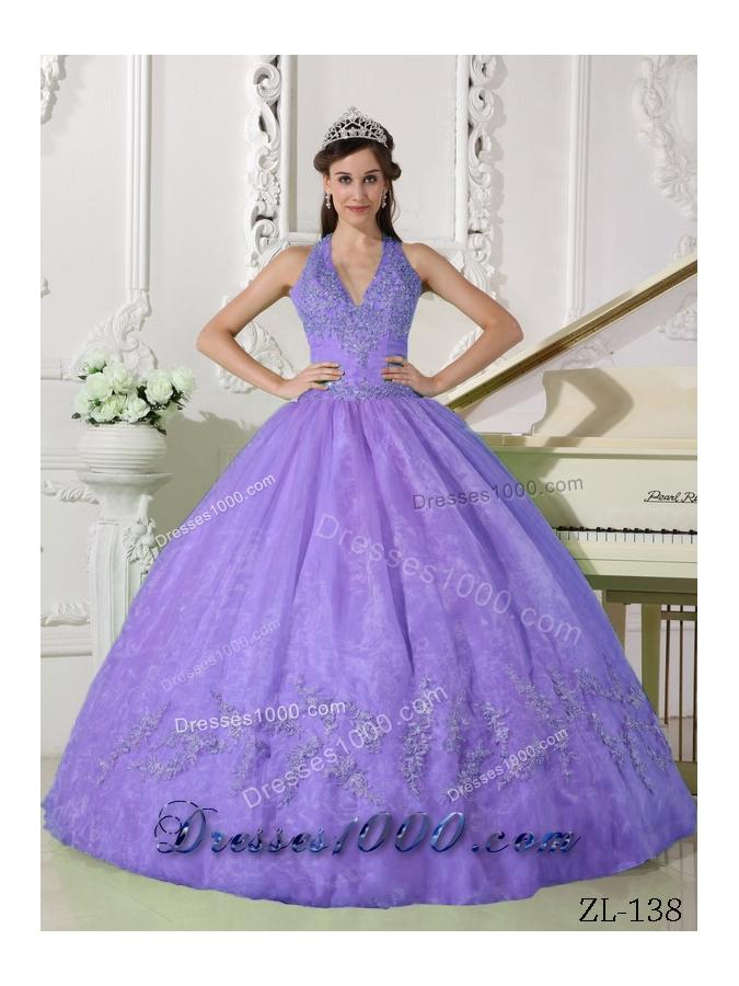 Modest Lavender Puffy Halter Appliques Quinceanera Dresses for 2014