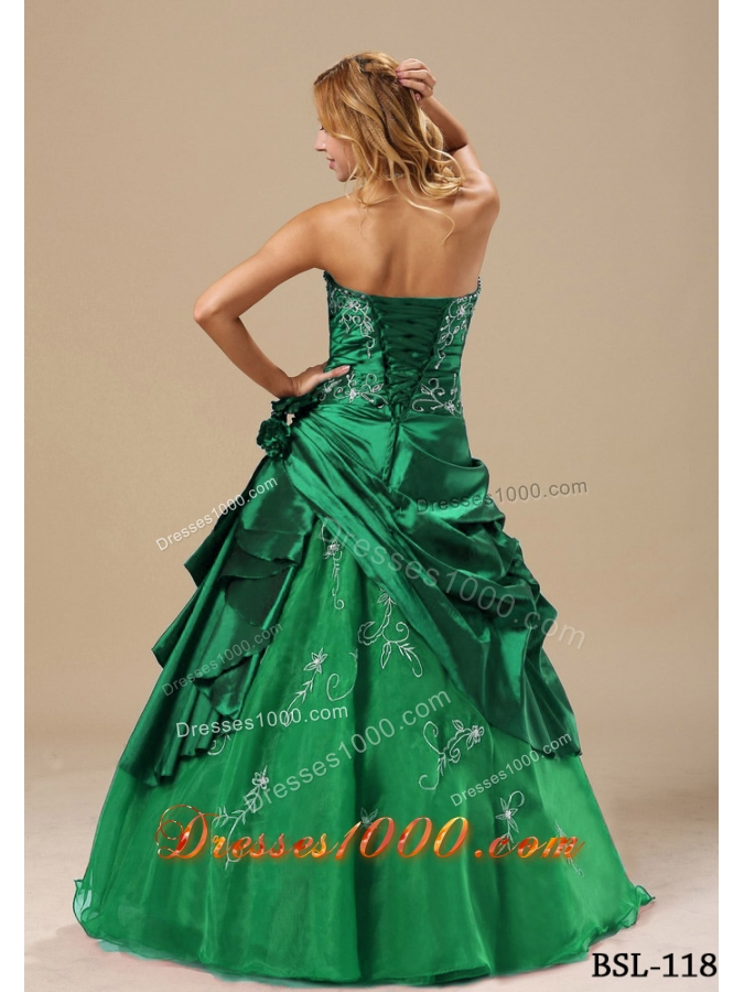 2014 Strapless Quinceanera Dresses with Embroidery Hand Made Flowers