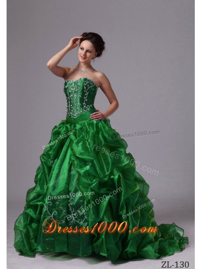 Appliques and Pick-ups Sweep Train Quinceanera Dresses For Custom Made