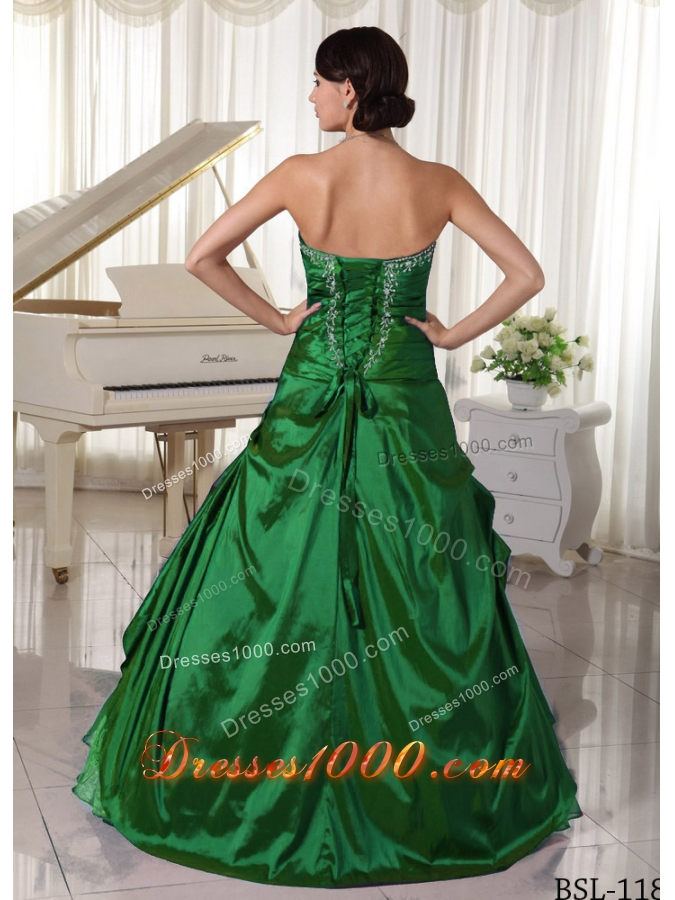 Dark Green Princess Sweetheart Quinceanea Dresses With Appliques Beading