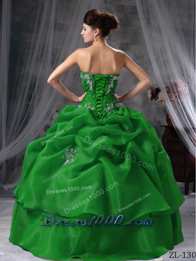 Puffy Ball Gown Sweetheart Dark Green Quinceanera Dresses with Appliques