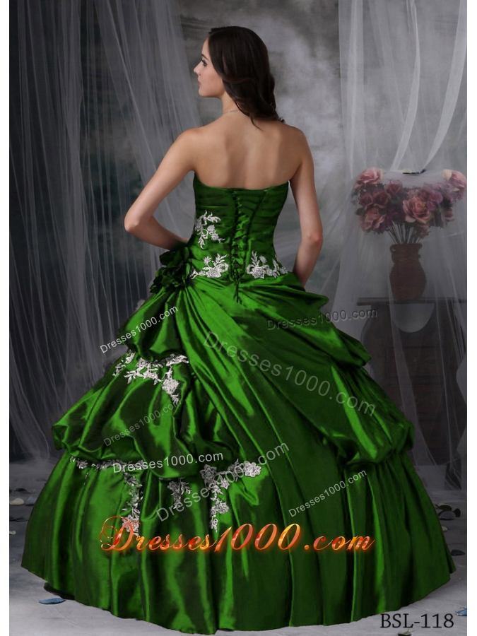 Puffy Strapless 2014 Spring Cheap Quinceanera Dresses Appliques