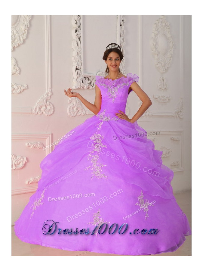 Lavender and Black Princess Strapless Organza Sweet Sixteen Dresses with Ruffles and Appliques
