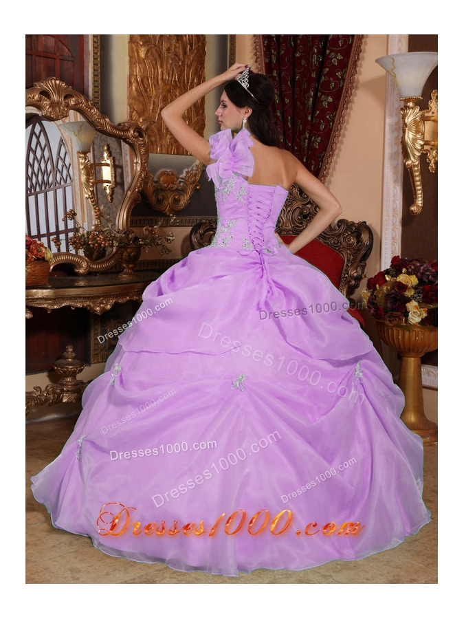 One Shoulder Organza Appliques for Lilac Quinceanera Gowns with Pick-ups