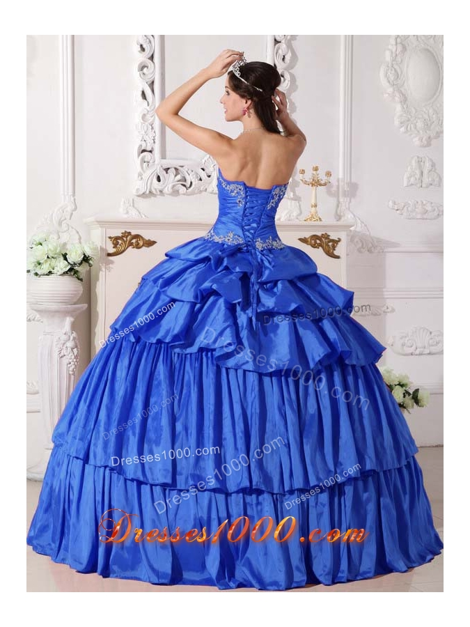 2014 Blue Ball Gown Sweetheart Beading and Ruch Detachable Quinceanera Dress with Ruffled Layers