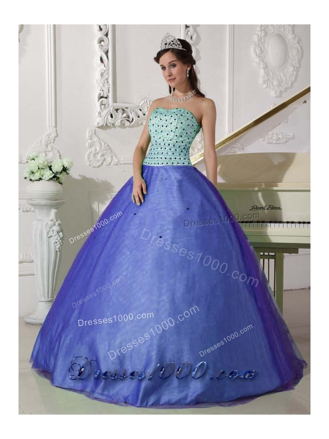 2014 Exclusive Blue Puffy Sweetheart Beading Quinceanera Dress